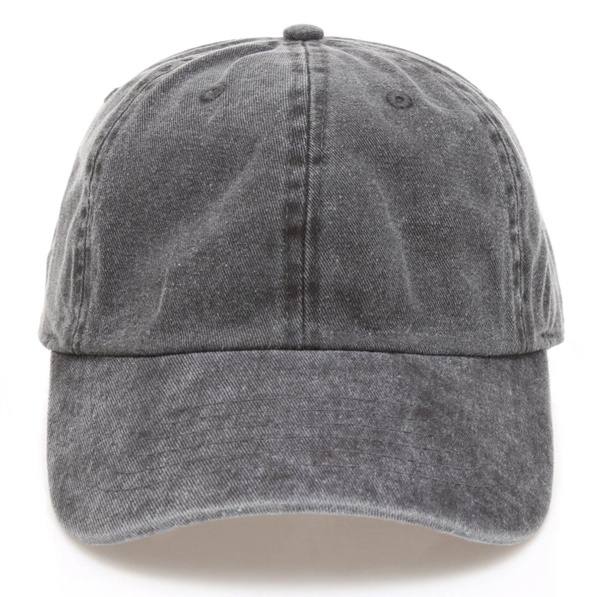 MIRMARU Low Profile Vintage Washed Pigment Dyed 100% Cotton Adjustable Baseball Cap Hat.(Black)