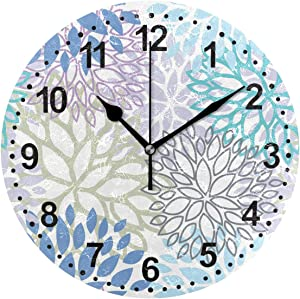 SUABO Bathroom Clocks for Living Room Decor 9.5 Inch Non Ticking Silent Decorative Wall Clock