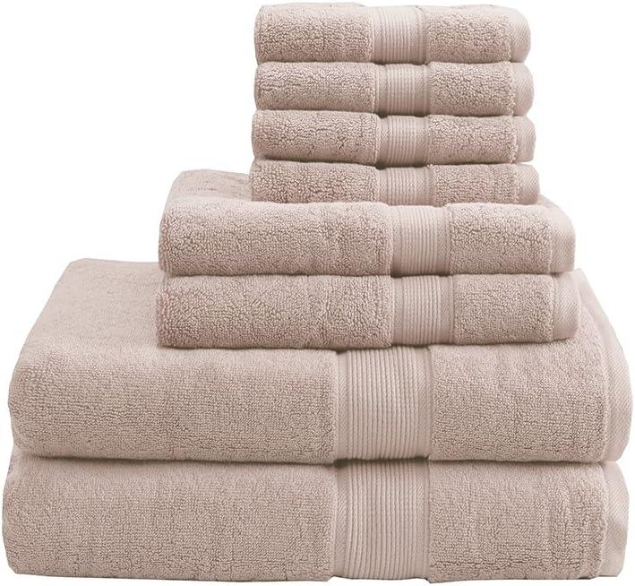 MADISON PARK SIGNATURE 800GSM 8 Piece 100% Cotton Towel Set for Bathroom, 2 Bath Towels, 2 Hand Towels, 4 Washcloths, Premium Long Staple Pile, Spa Luxurious Design, Blush