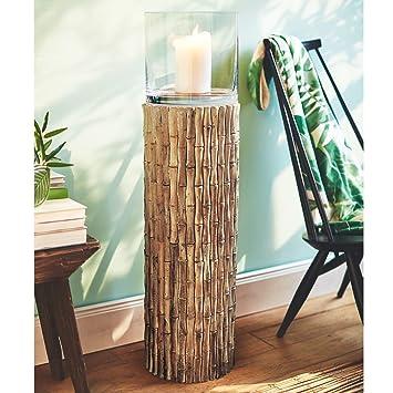 Pureday Bodenwindlicht Bambus Windlichtsaule Aus Holz Braun