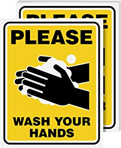 Wash Hands Sign Laminated Poster bulk for School and Offices, Health and Safety – Great Use for Homes, Schools, Office and Public Spaces | Heat, Water and Moisture Resistant | 8 x 10 Inches | 5 per Pack (Yellow)