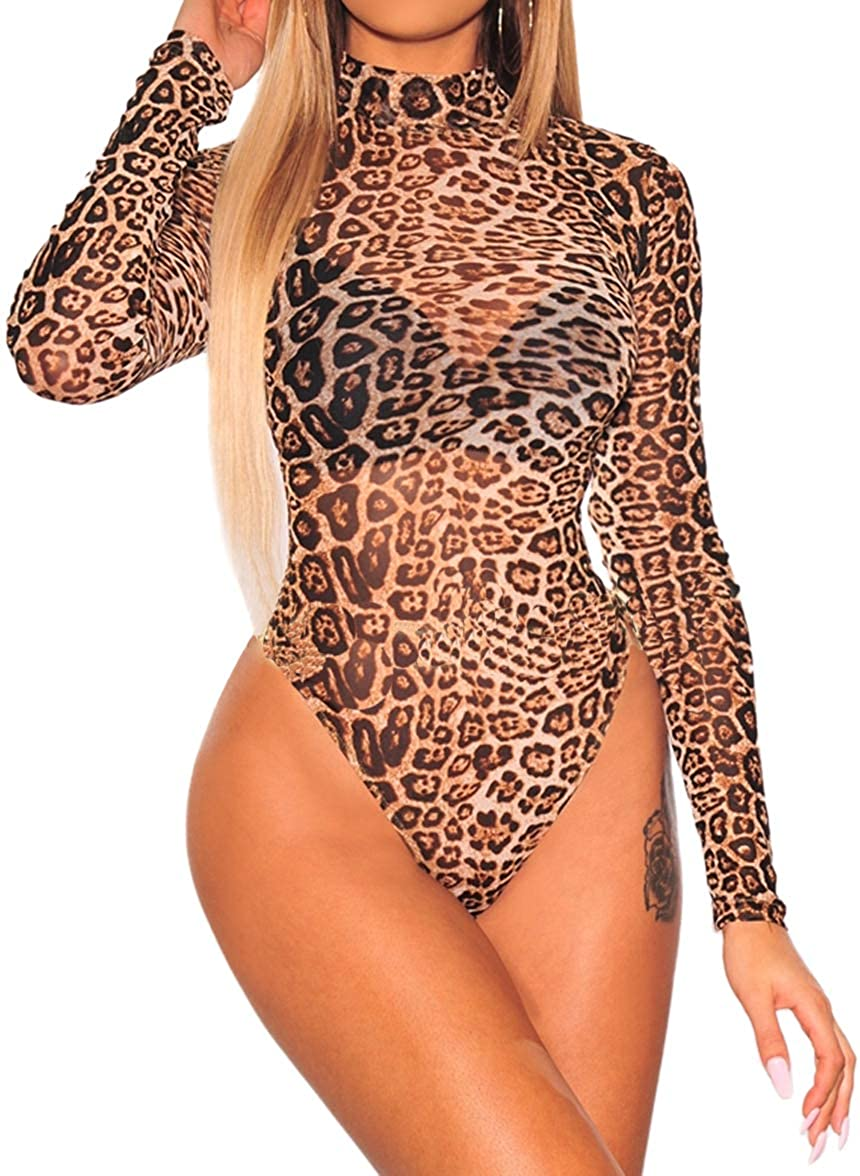 8b17c3b03996 Amazon.com: HaniLav Women's Sexy Sheer Mesh Rhinestone Long Sleeves  Jumpsuit Bodysuits Clubwear S-4XL: Clothing