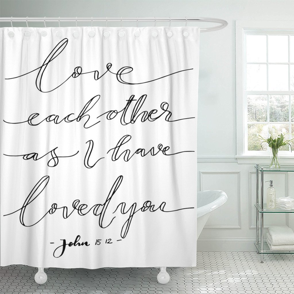Breezat Shower Curtain Wall Love Each Other As I Have Loved You Lettering Bible Verse Modern Calligraphy Christian Beautiful Waterproof Polyester Fabric 72 x 72 Inches Set with Hooks by Breezat