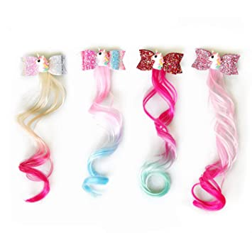 Girls Hair Bow Extensions Ponytail Party Highlights Children Hair Bows Tie Kids