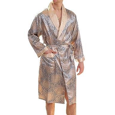 Elegant Men s Premium Silk Bathrobe Long-Sleeved Sleepwear Knee Length Dressing  Gown Thin Pajamas Lighweight faa438dcb
