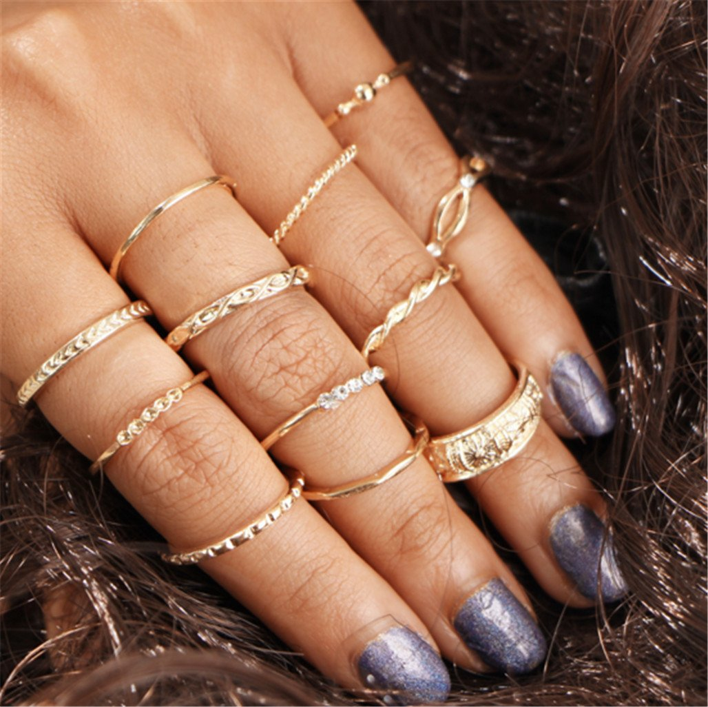 12 Pieces Set Joint Rings Set Retro Diamond Ring Knotted Carved Rings ZYanYi