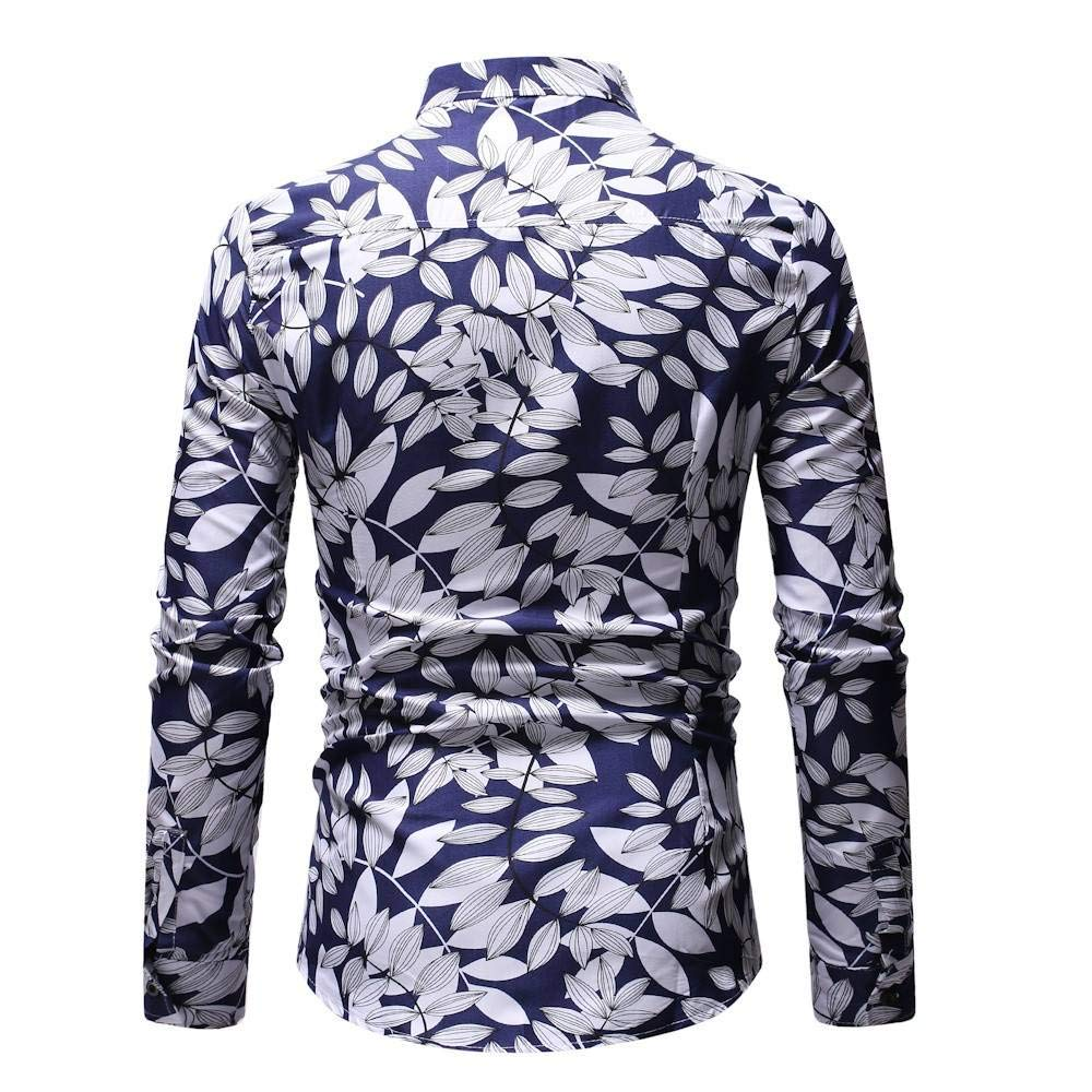 CHENYIHHY Men Shirt Fashion Flower Tops and Blouses New Pattern Casual Lapel Printing Long Sleeved Shirt Mens Clothing Spring
