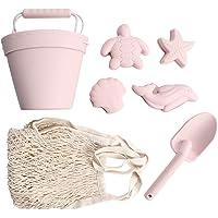 BraveJusticeKidsCo.   Silicone Summer Beach Set   Toddlers and Kids Sandbox Toys (Blush) + Beach Bag