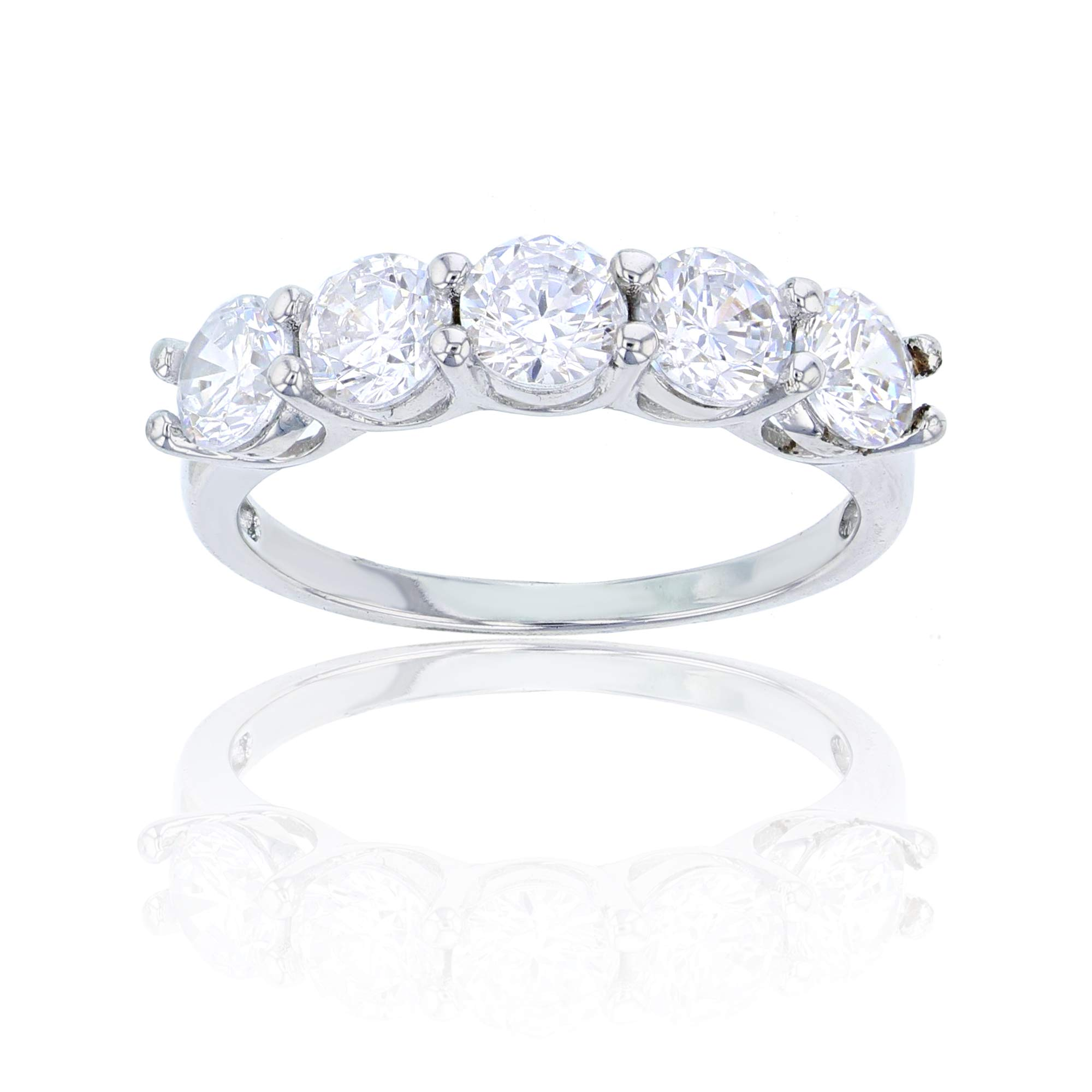 Decadence Sterling Silver Rhodium 5mm Round Cut 5 Stone Cubic Zirconia Anniversary Band