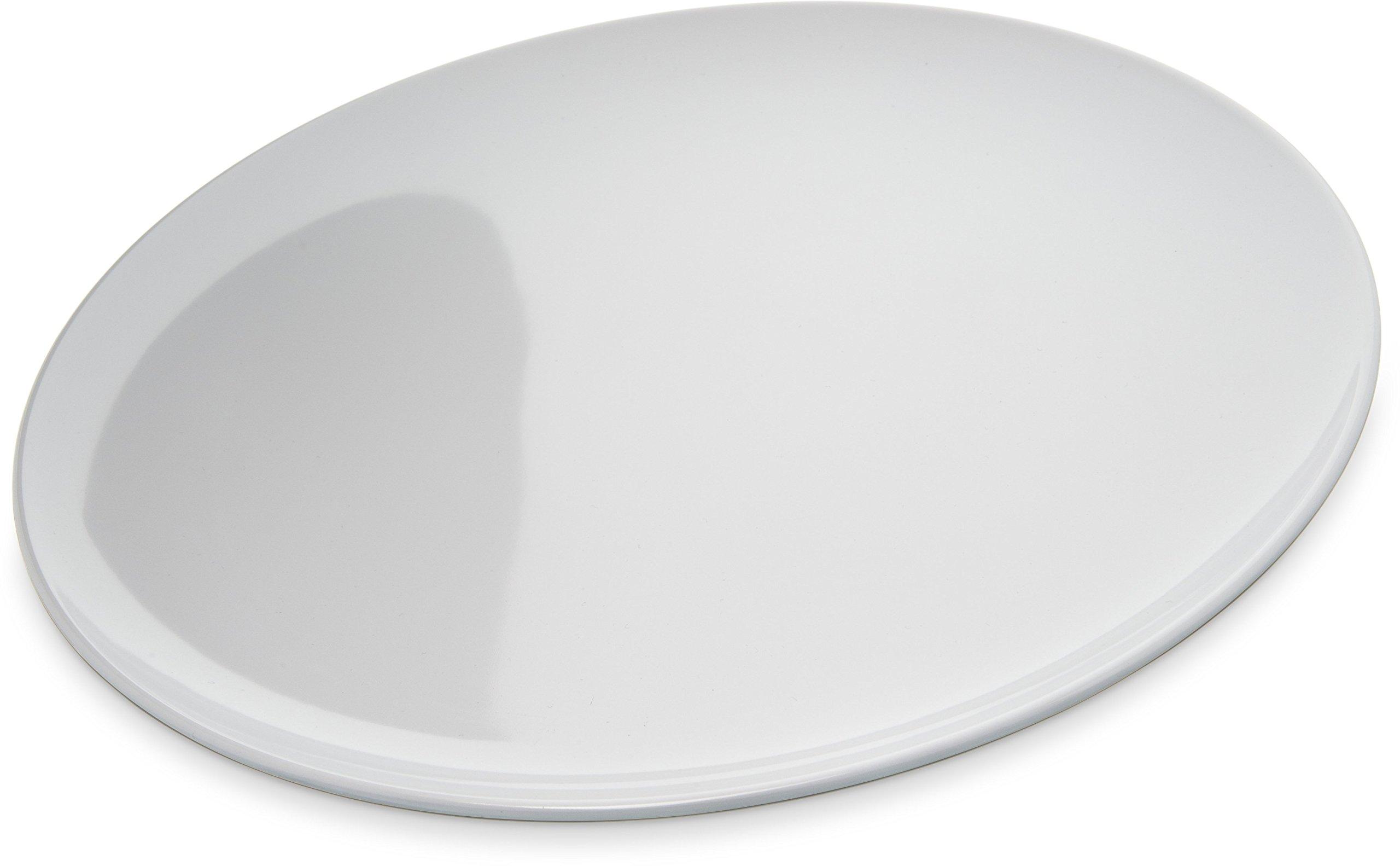 Carlisle 4380002 Epicure Melamine Buffet / Pizza Plate, 12'', White (Set of 12)