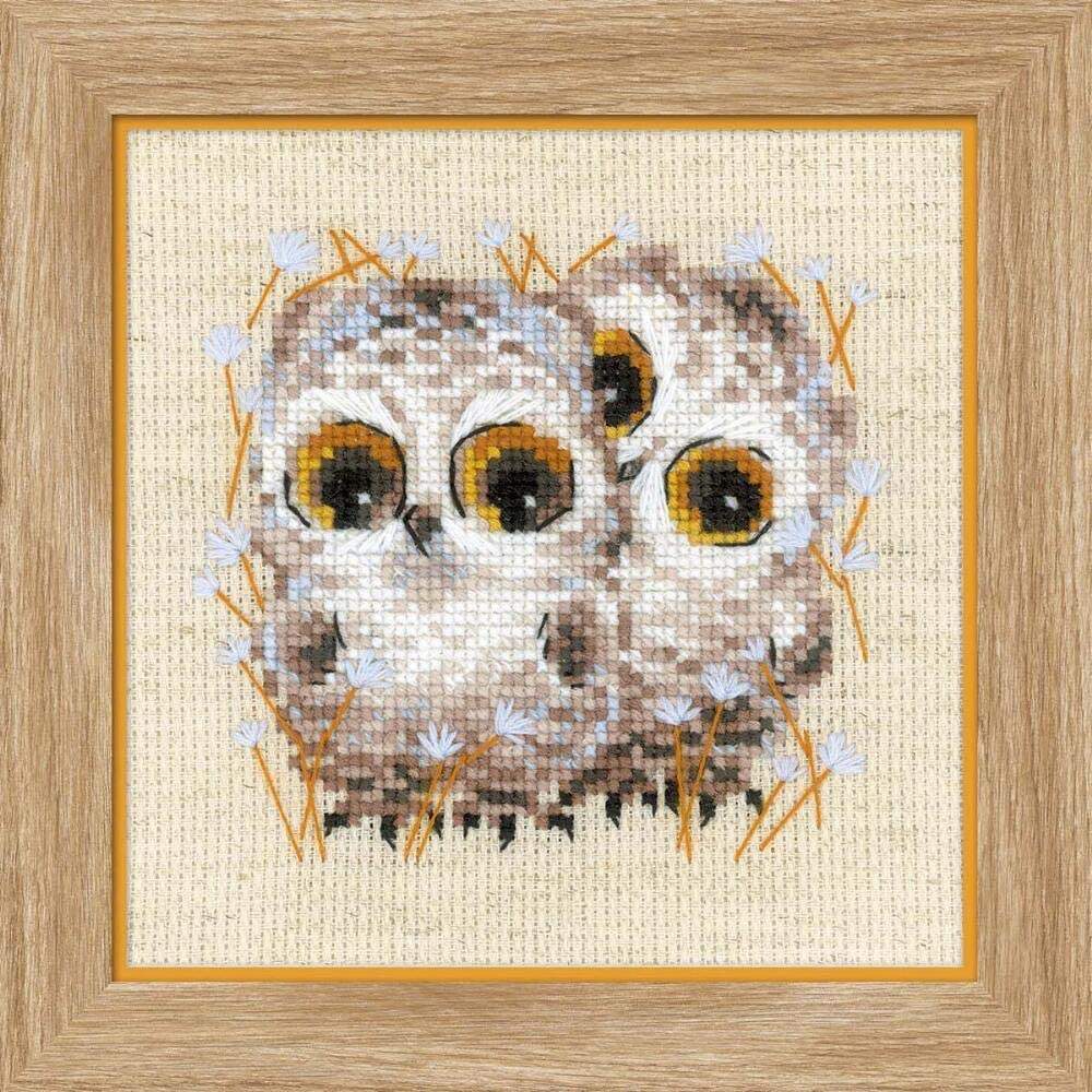 RIOLIS Counted Cross Stitch Kit 5X5-Little Owls 14 Count