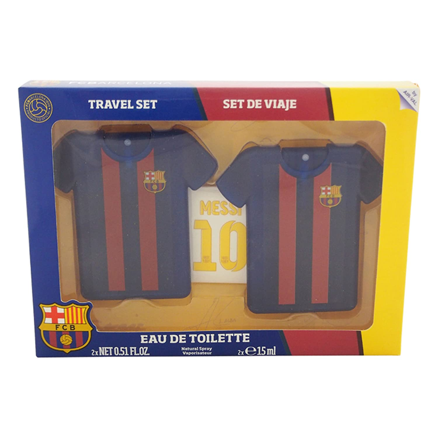 FC Barcelona by FC Barcelona for Men - 3 Pc Gift Set 2 x 0.51oz EDT Spray, Stickers Air-Val International
