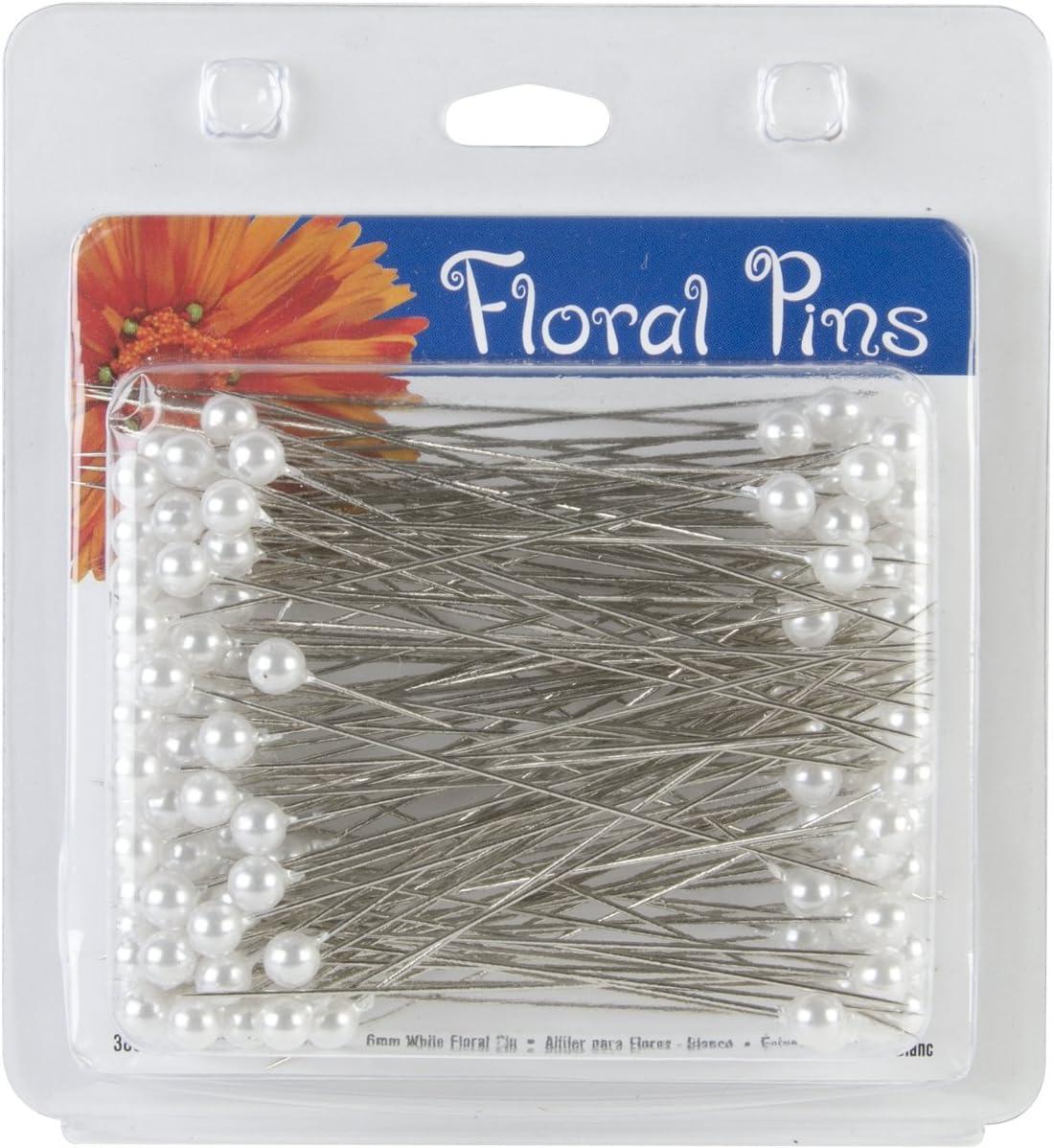 B001C2DPHK Darice 3-Inch Floral Pins, Round, White, 144-Pack 71K8FGgZlmL