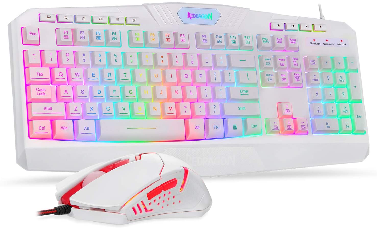 Redragon S101 Wired Gaming Keyboard and Mouse Combo RGB Backlit Gaming Keyboard with Multimedia Keys Wrist Rest and Red Backlit Gaming Mouse 3200 DPI for Windows PC Gamers (White): Computers & Accessories