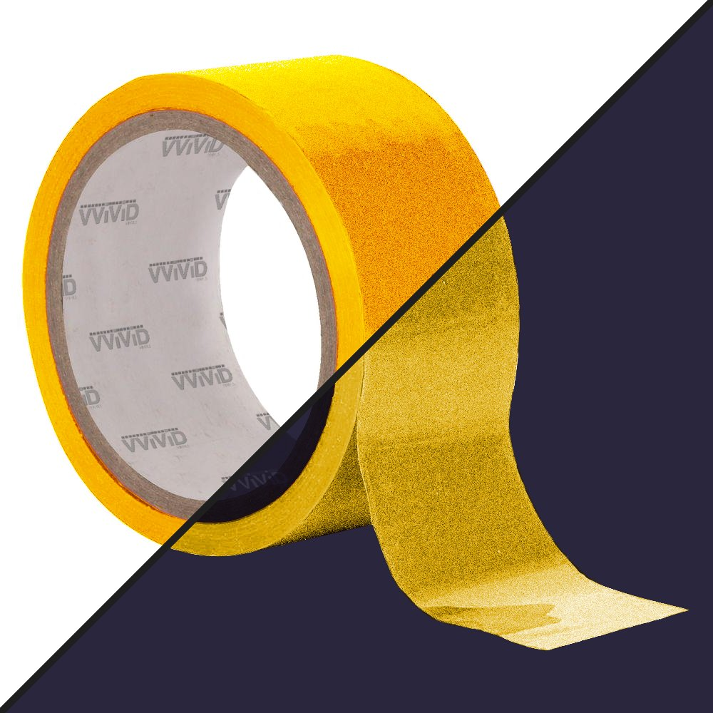 1//2 x 25ft VViViD DECO65 Reflective Yellow Permanent Adhesive Craft Vinyl Tape Roll