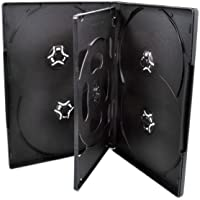 10 Pack Maxtek Standard 14mm Black Six (6) Disc DVD Cases with Double Sided Flip Tray and Outter Clear Sleeve