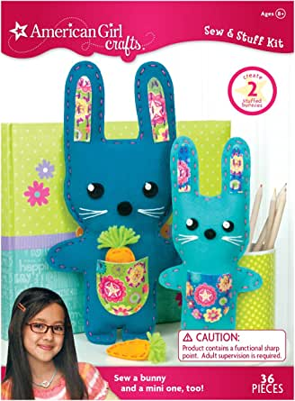 American Girl Crafts DIY Bunny Stuffed Animals Sew and Stuff Kit, 6.75'' W x 13'' H and 4.5'' W x 9'' H