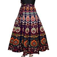 Mudrika Women's Cotton Wrap Around Skirt with Elegant Print (SK_5299, Multicolour, Free Size)