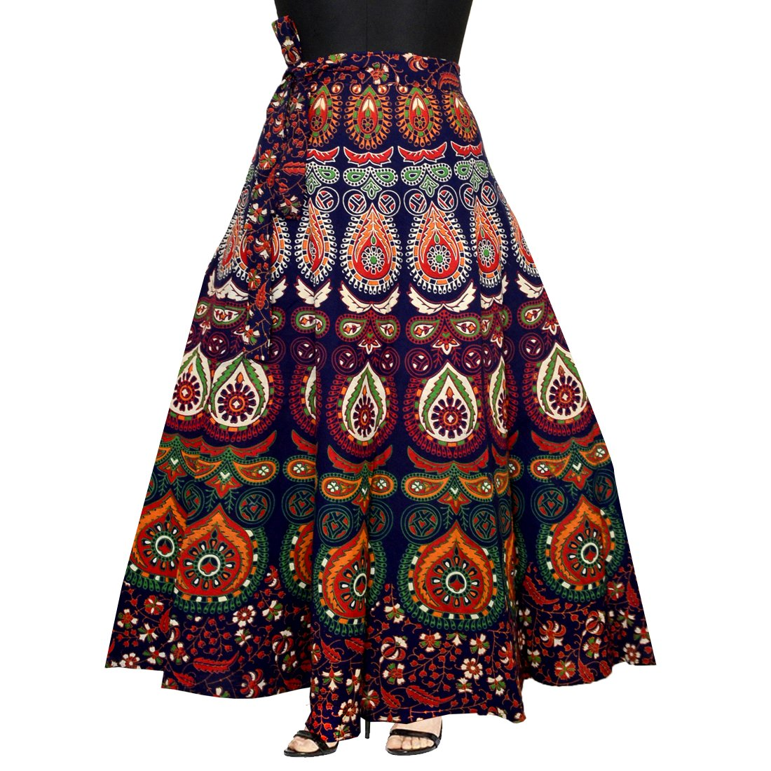 Mudrika Women's Pure Cotton Wrap Around Skirt with Elegant Printed (SK_5299, Multicolour, Free Size)