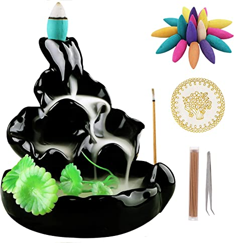 10 Backflow Incense Cones Gift Black,Style 4 Backflow Incense Holder Burner Handmade Ceramic Incense Cones Sticks Holder Home Decor Waterfall Backflow Incense Burner Censer