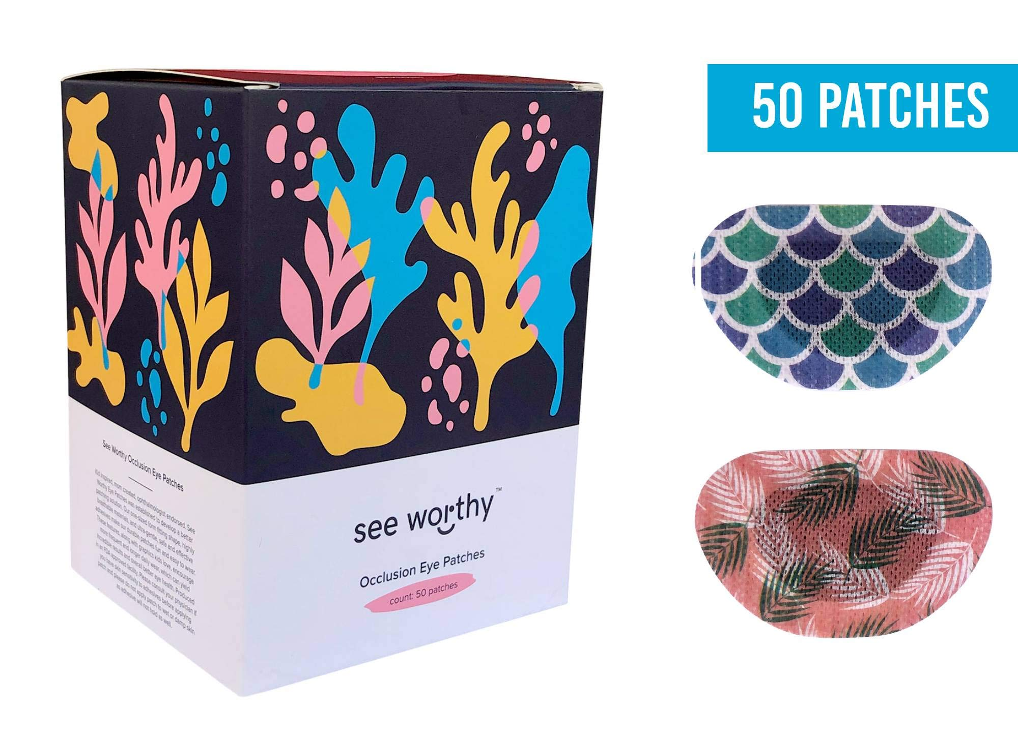 See Worthy (Mermaid and Palm) Adhesive Kids Eye Patches, Innovative Shape, Smart Adhesive Technology, Breathable Material and New Designs, (50 per Box) (Regular Size)