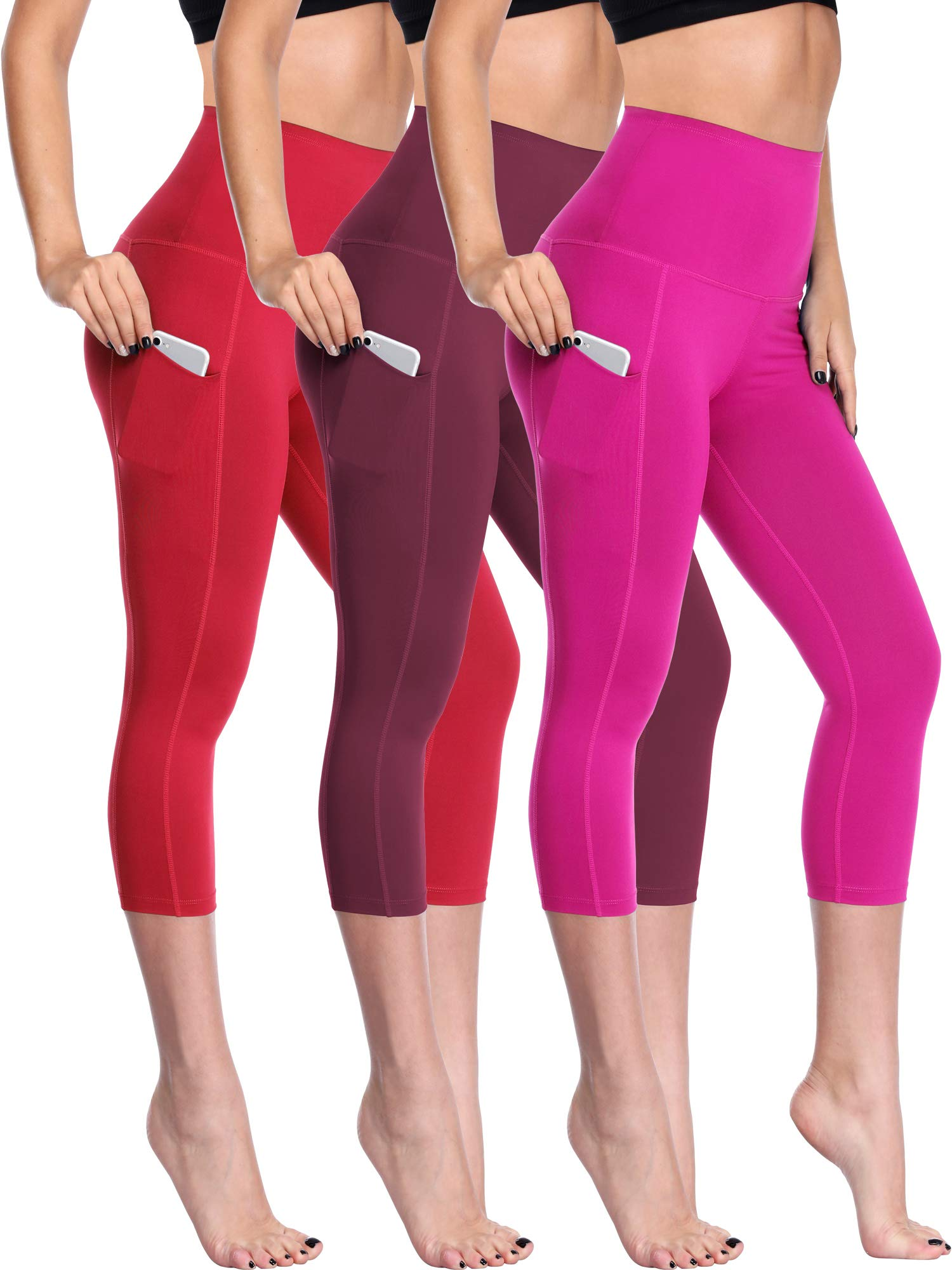 Neleus Women's 3 Pack Tummy Control High Waist Capris Leggings Yoga Pants,109,Red,Wine Red,Rose Red,L by Neleus