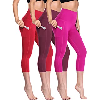Neleus Women's 3 Pack Tummy Control High Waist Capris Leggings with Two Pockets,109,Red,Wine Red,Rose Red,M