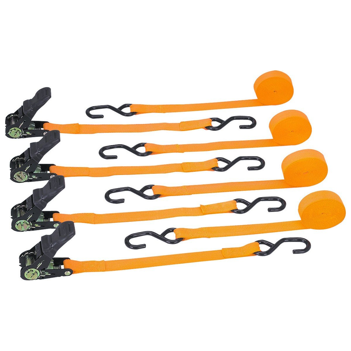 400 lb. Capacity 1 in. x 15 ft. Ratcheting Tie Downs 4 Pc 90 Day Warranty 90 Day Warranty by USA Tools N More