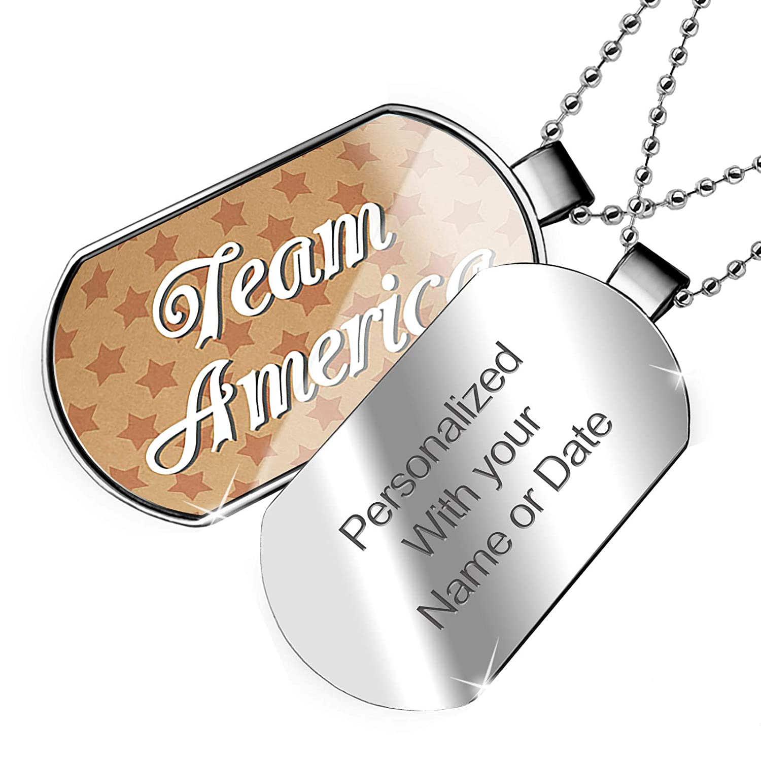 NEONBLOND Personalized Name Engraved Team America Fourth of July Kraft Stars Dogtag Necklace