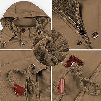 BIYLACLESEN Mens Winter Cotton Cargo Jackets 8 Pockets Windbreaker Fleece Lined Coat Stand Collar Work Jacket