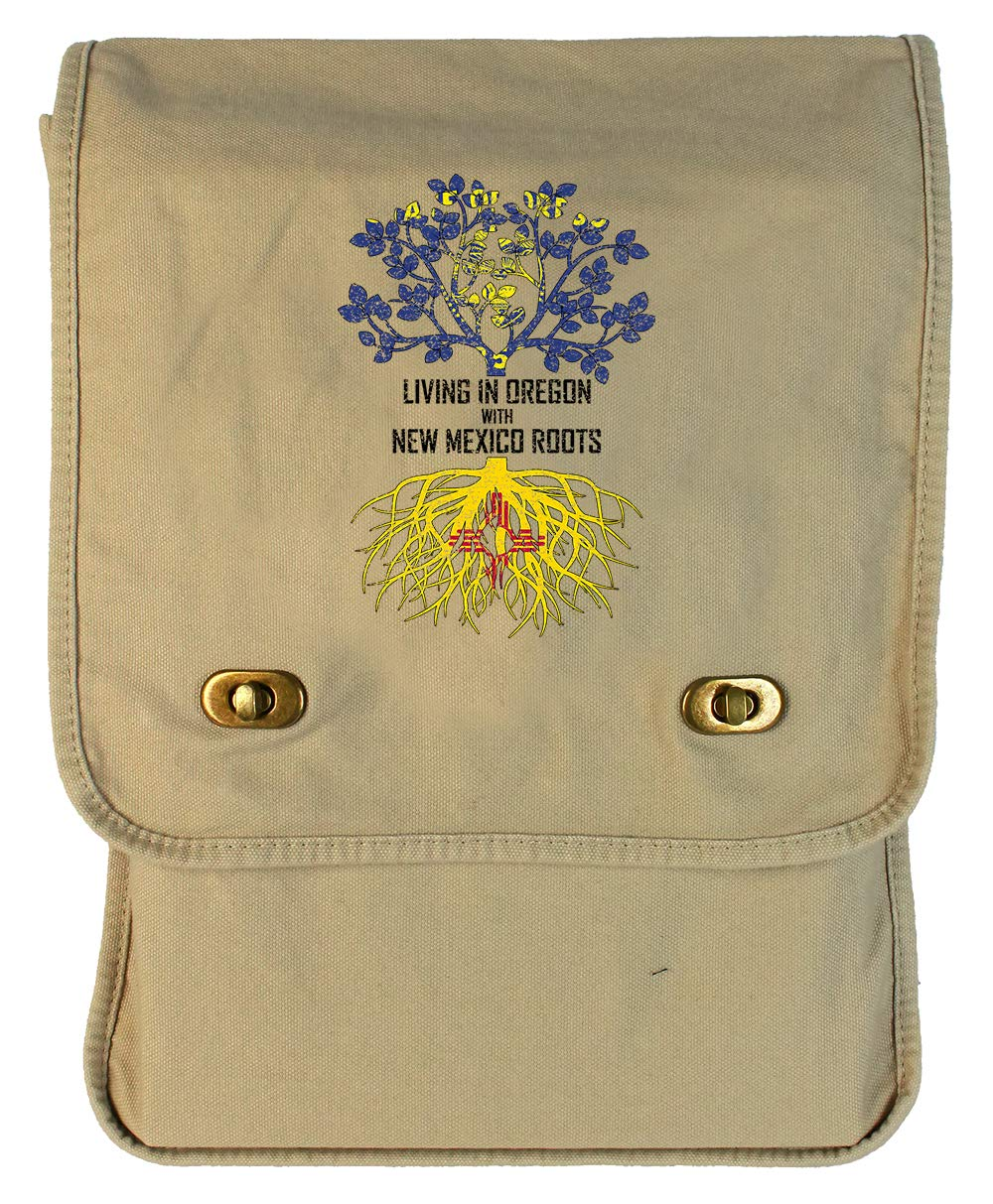 Tenacitee Living In Oregon with New Mexico Roots Grey Brushed Canvas Messenger Bag