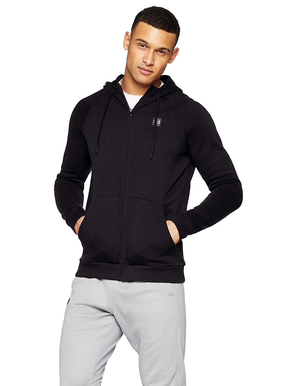 TALLA L. Under Armour Rival Fleece FZ Hoodie Parte Superior del Calentamiento, Hombre