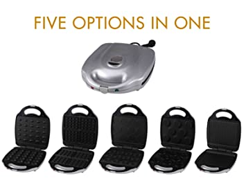 5 in1 Grill Gofrera Back dispositivo (Burger Maker, gofres y grill, galletas Maker