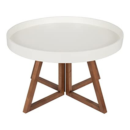 Kate And Laurel   Avery 30 Inch Round Coffee Table, White And Walnut Brown