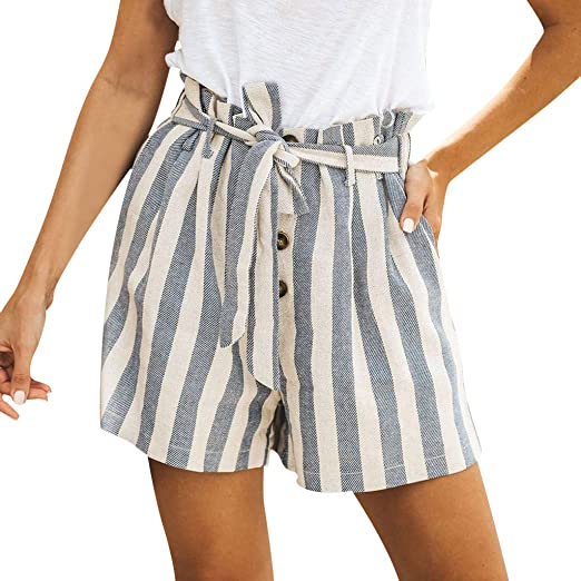 Summer Bandage Fashion Plaid Print Womens High Waist Loose Casual Pants TrouserX