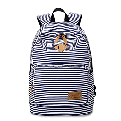 Nawoshow Stripes Backpack Casual Canvas School Bag Cute Lightweight Travel Daypack Rucksack (Blue)