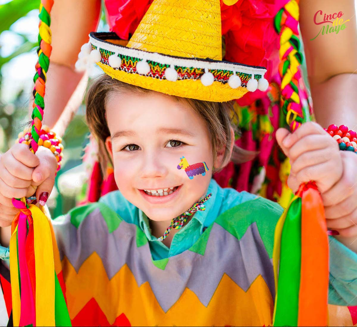 Cinco de Mayo Fiesta Tattoos Stickers – Mexican Party Favors Supplies Decorations by Your Little Lovely (Image #1)