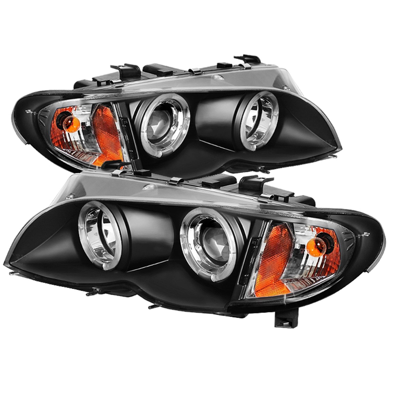 Amazon com spyder auto pro yd bmwe4602 4d am bk bmw e46 3 series 4 door black halo projector headlight automotive