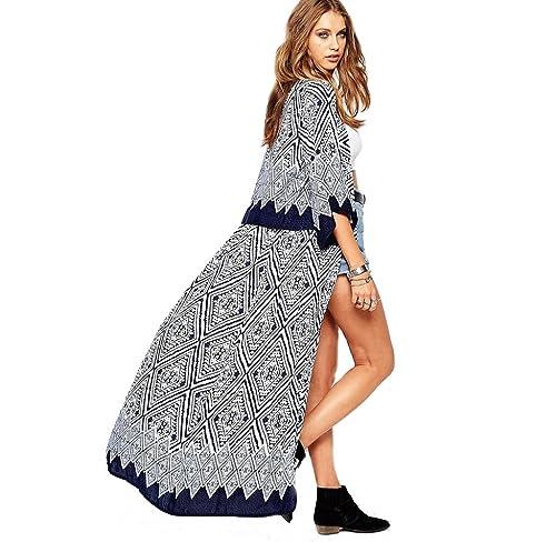Ularma 2016 Nuevo Mujeres Boho impreso gasa suelta chal Kimono chaqueta tapas cubrir blusa