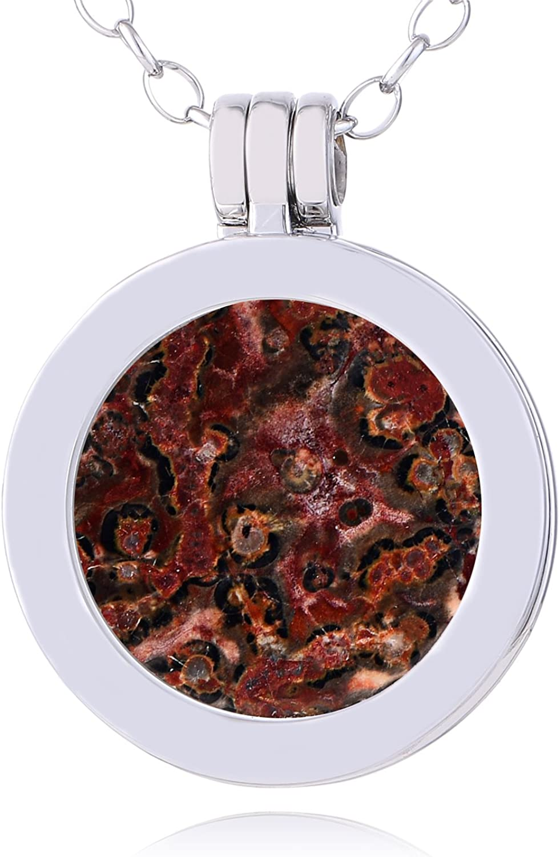 Morella Mujeres Collar 70 cm Acero Inoxidable y Colgante con Small Coin Moneda Amuleto de Piedra Preciosa Gema 23 mm Plato de Chakra en Bolsa de joyería
