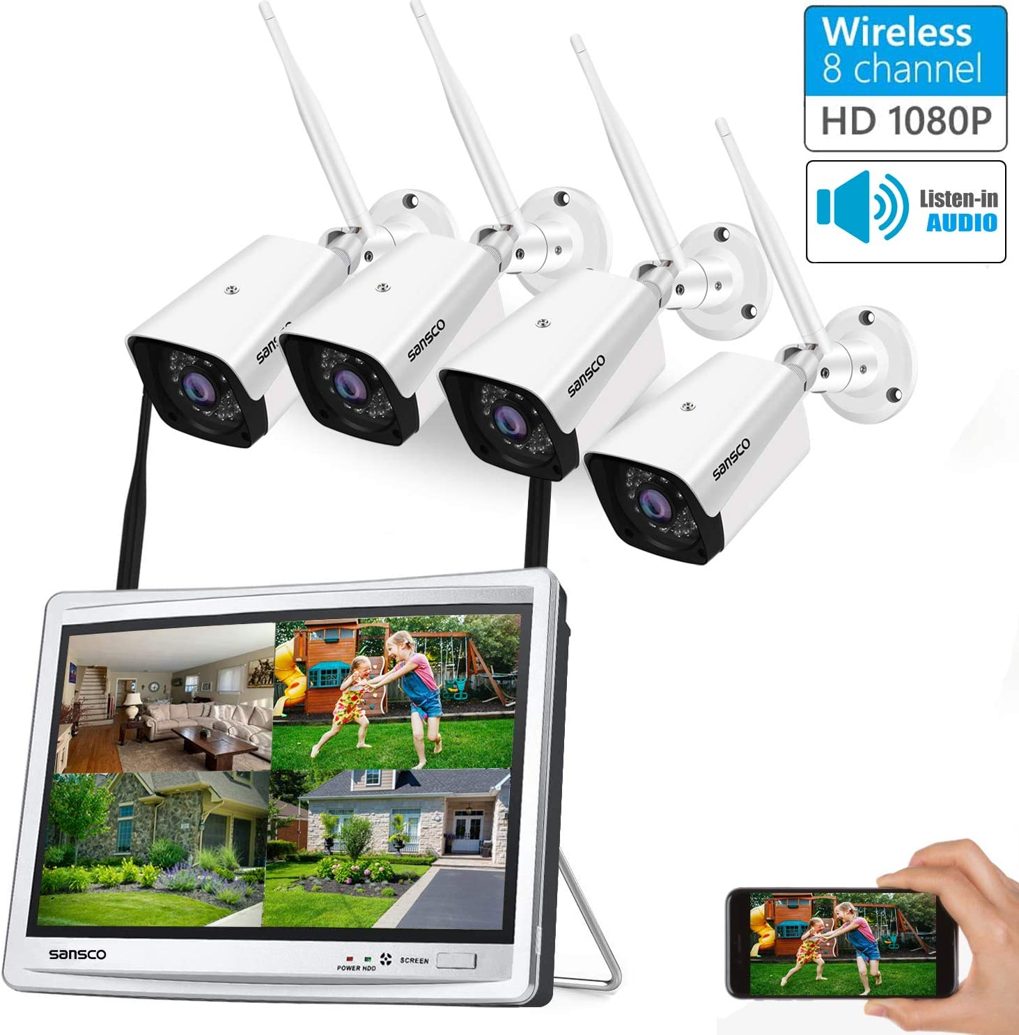 8CH Expandable SANSCO All in one with 12 HD Monitor, 1080P Wireless CCTV Security Camera System with Audio, 4X 2MP WiFi Outdoor Waterproof Camera with Mic, Night Vision, Motion Alert, NO Hard Drive