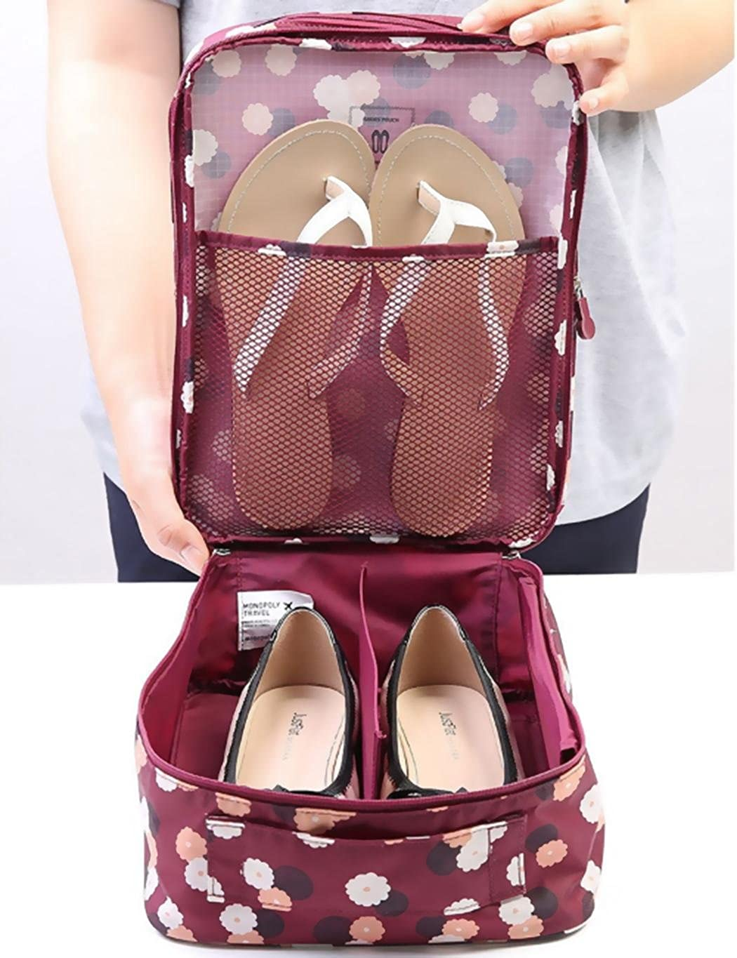 Corgy Shoe Bags for Travel Portable Thick Nylon Waterproof Fabric with Zipper Travel Shoe Tote Bags
