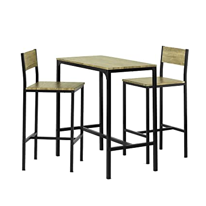 SoBuy® Set tavolino bar con 2 sgabelli, Arredo da giardino,Tavolo da ...