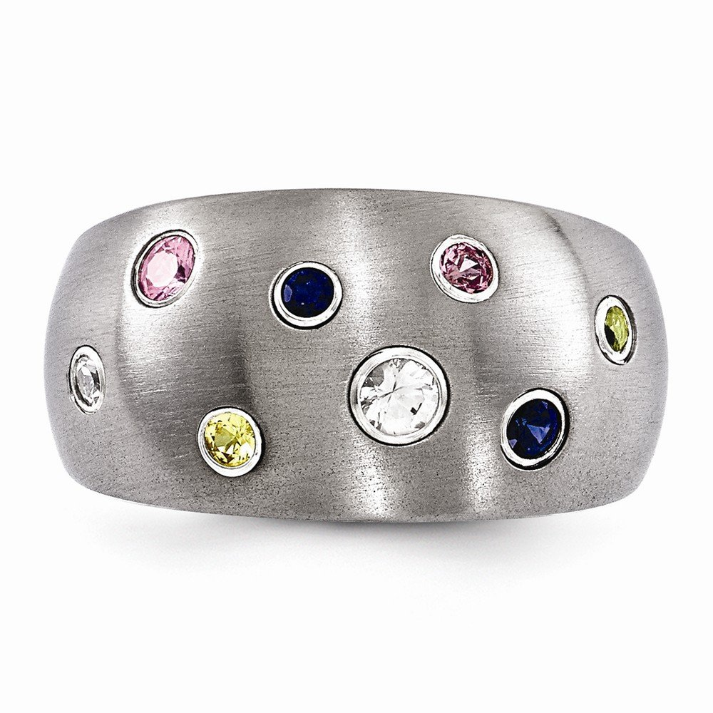 Grey Titanium Gemstone Ring Brushed 12 mm Multi-color Sapphire Bezels Ring