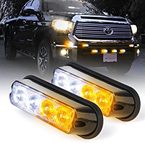 Xprite White & Amber Yellow 4 LED 4 Watt Emergency Vehicle Waterproof Surface Mount Deck Dash Grille Strobe Light Warning Police Light Head with Clear Lens - 2 Pack