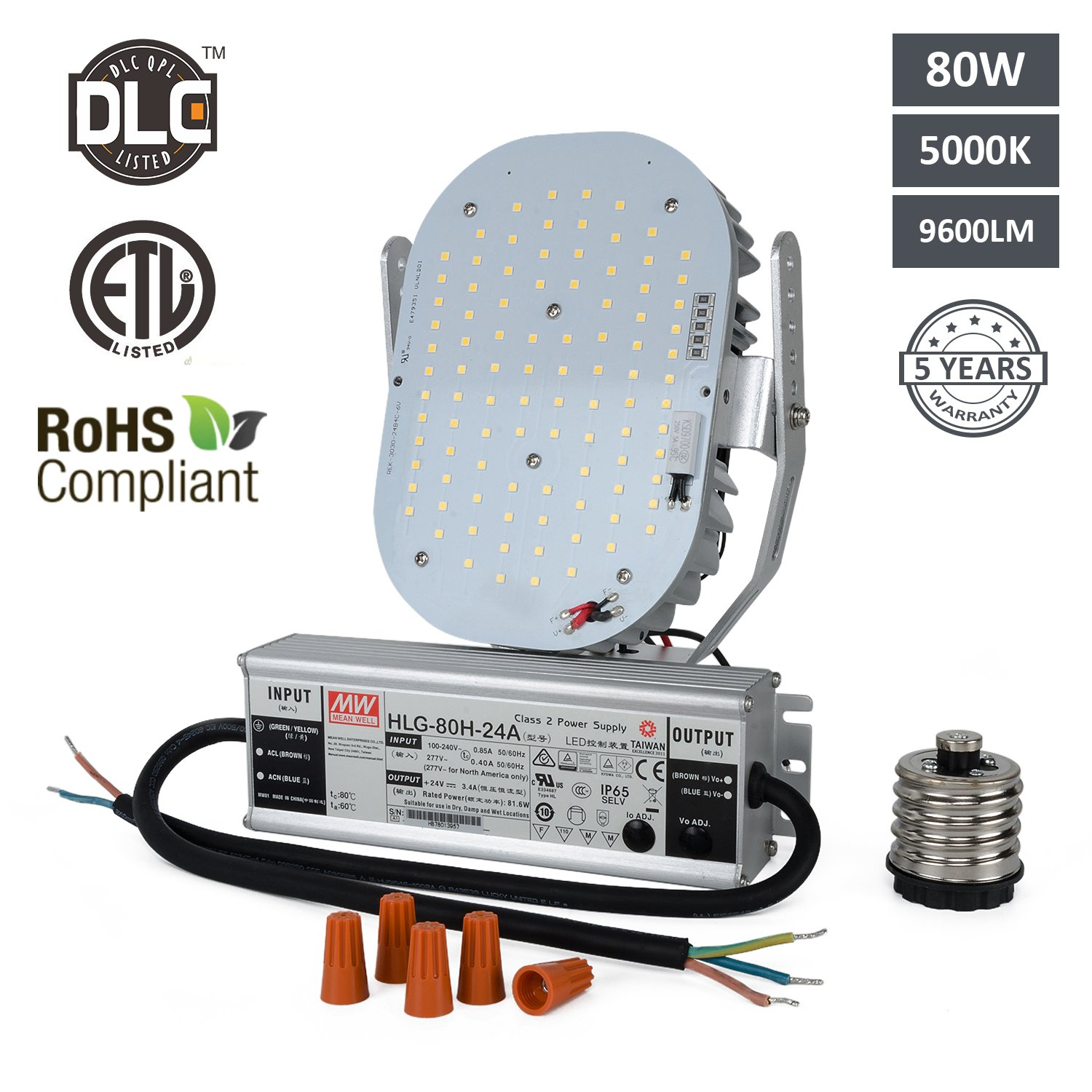 Hakkatronics 80W LED Retrofit Kit with Power Supply(UL/ETL Listed), Replaces MH/HPS/HID Bulbs, For Shoebox, Flood Lights, Wall Pack, Canopy and High Bay Fixtures 5000K White Lighting 5 Years Warranty] by Hakkatronics