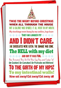 12 'Twas the Bite Before' Boxed Christmas Hilarious Greeting Cards 4.63 x 6.75 inch, Merry Xmas Note Cards for Holidays, Gifts, Funny Christmas, Food Humor, Notecard Stationery w/Envelopes B5965
