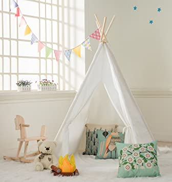 DalosDream Indoor Outdoor Classic White Cotton Canvas Play Teepee Tent for Toddler Kids with Mat Floor : girls teepee tent - memphite.com