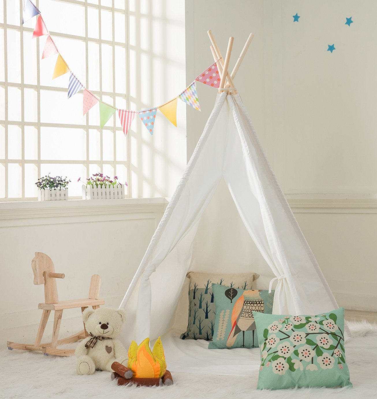 DalosDream Indoor Outdoor Classic White Cotton Canvas Play Teepee Tent for Toddler Kids with Mat Floor and Carry bag by DalosDream (Image #1)