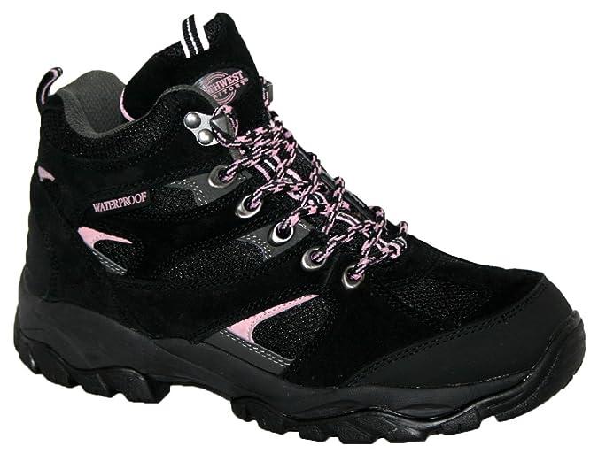 Damen Charlotte vollständig wasserdicht Walking/Wandern/Schnürschuh Trainer Stiefel, Schwarz - schwarz - Größe: 39.5
